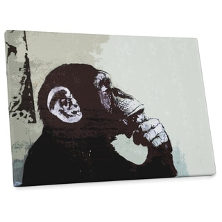 "Banksy ""Monkey Thinker"" Gallery Wrapped Canvas Wall Art"