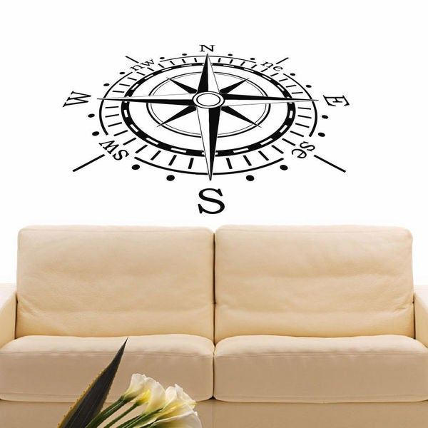 Beach House Decor Compass Vinyl Wall Art Decal Sticker