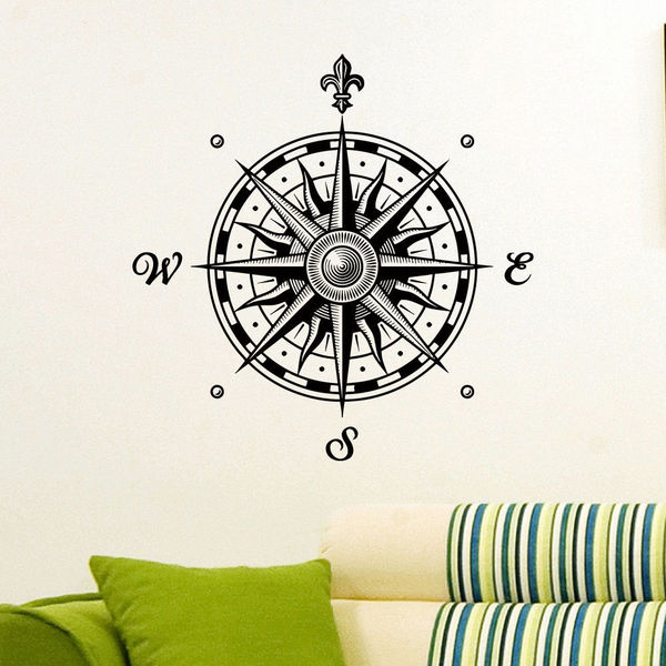 Fancy Saints Compass Vinyl Wall Art Decal Sticker  sc 1 st  Overstock.com & Shop Fancy Saints Compass Vinyl Wall Art Decal Sticker - Free ...