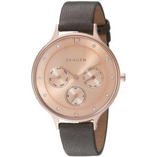 Skagen Women's SKW2392 'Anita' Multi-Function Crystal Black Leather Watch