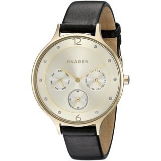 Skagen Women's SKW2393 'Anita' Multi-Function Crystal Black Leather Watch