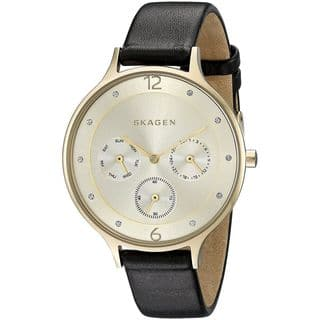 Skagen Women's SKW2393 'Anita' Multi-Function Crystal Black Leather Watch|https://ak1.ostkcdn.com/images/products/10792859/P17840111.jpg?impolicy=medium