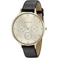 Skagen Women's SKW2393 'Anita' Multi-Function Crystal Black Leather Watch
