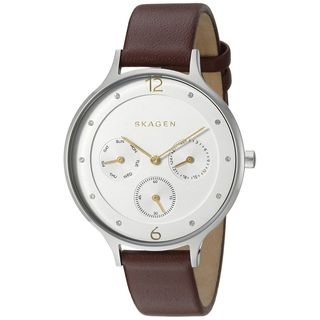 Skagen Women's SKW2394 'Anita' Multi-Function Crystal Brown Leather Watch