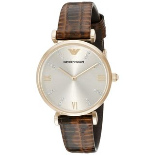 Emporio Armani Women's AR1883 'Classic' Crystal Brown Leather Watch