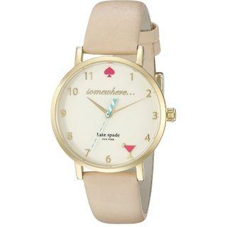 Kate Spade Women's 1YRU0484 'Metro' Beige Leather Watch