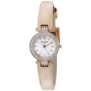 Kate Spade Women's 1YRU0719 'Tiny Metro' Crystal Beige Leather Watch