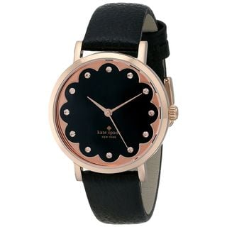Kate Spade Women's 1YRU0583 'Scallop Metro' Crystal Black Leather Watch