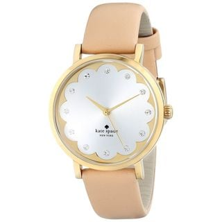 Kate Spade Women's 1YRU0586 'Scallop Metro' Crystal Beige Leather Watch