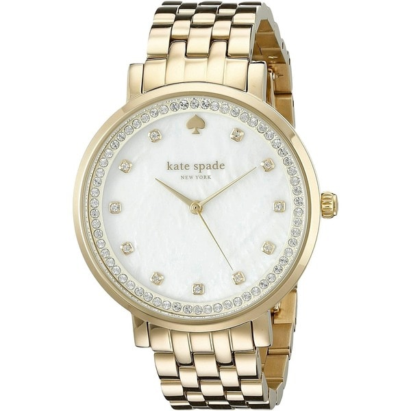 Shop Kate Spade Women s  Monterey  Crystal Gold-Tone Stainless Steel Watch  - Free Shipping Today - Overstock - 10792906 eb5dfbe121
