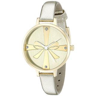 Kate Spade Women's 1YRU0878 'Metro Wrapped Up' Crystal Gold-Tone Leather Watch