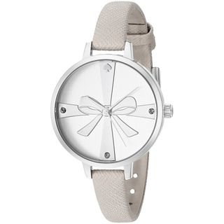 Kate Spade Women's 1YRU0925 'Metro Wrapped Up' Crystal Watch with Grey Leather Strap