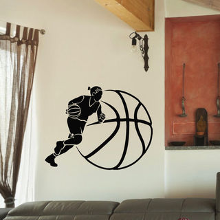 Basketball Wooman Girl Vinyl Wall Art Decal Sticker