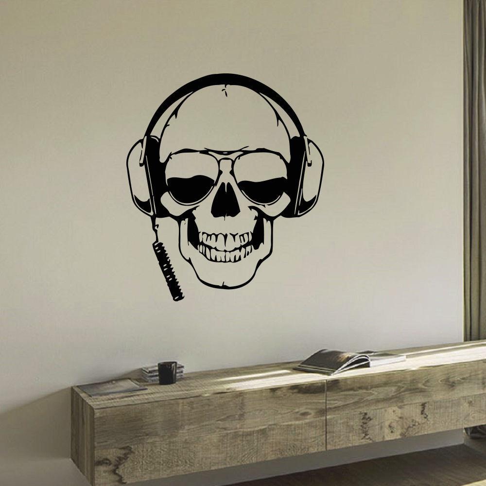 Skull wearing Headphones Vinyl Wall Art Decal Sticker (26...