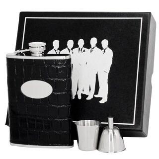 Visol Fantastique Black Crocodile Pattern Legion II Flask Gift Set - 8 ounces