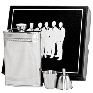 Visol Athens Greek Pattern Stainless Steel Legion II Flask Gift Set - 8 ounces