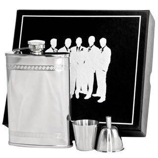 Visol Athens Greek Pattern Stainless Steel Legion II Flask Gift Set - 8 ounces