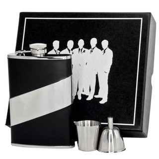 Visol Descent Black Leather and Stainless Steel Legion II Flask Gift Set - 8 ounces