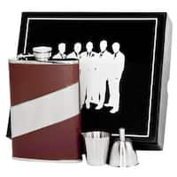 Visol Descent Brown Leather & Stainless Steel Legion II Flask Gift Set - 8 ounces