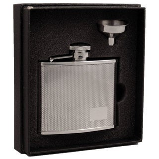Visol Sparkle Diamond Pattern Stainless Steel Essential III Flask Gift Set - 4 ounces