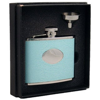 Visol Stella Light Blue Lizard Pattern Essential III Flask Gift Set - 4 ounces