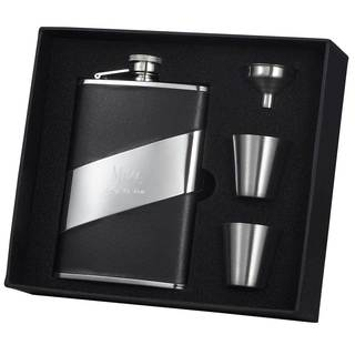 Visol Descent Black Leather and Stainless Steel Supreme II Flask Gift Set - 8 ounces