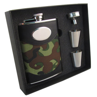 Visol GI Joe Green Camouflage Supreme II Flask Gift Set - 8 ounces