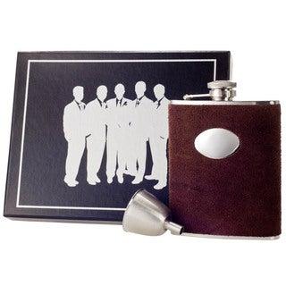 Visol Cowboy Brown Leather Century Flask Gift Set - 6 ounces