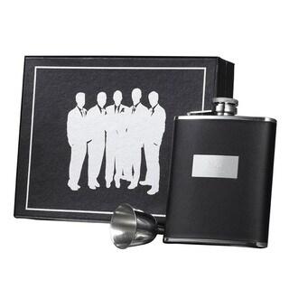 Visol Ontario Black Leather Century Flask Gift Set - 6 ounces