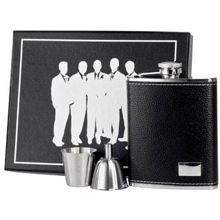 Visol Eclipse S Black Leather Legion Flask Gift Set - 6 ounces
