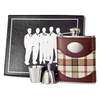 Visol Braw Plaid & Leather Legion Flask Gift Set - 6 ounces