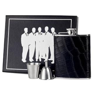 Visol Beau Monde Black Crocodile Leather Legion Flask Gift Set - 6 ounces