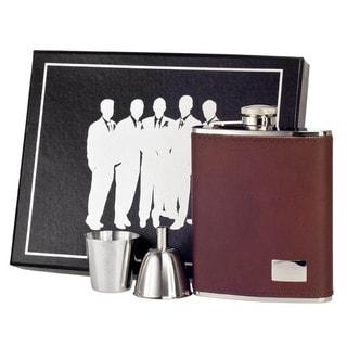 Visol Hunter Dark Brown Leather Legion Flask Gift Set - 6 ounces