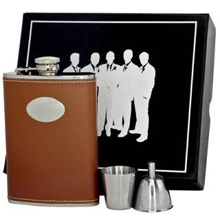 Visol Bobcat Brown Leather Legion II Flask Gift Set - 8 ounces