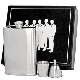 Visol Edge Satin Finish Stainless Steel Legion II Flask Gift Set - 8 ounces