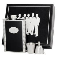 Visol Tux Black Leather and Stainless Steel Legion II Flask Gift Set - 8 ounces