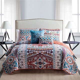 VCNY Natasha 5-Piece Reversible Quilt Set with 2 Decorative Pillows