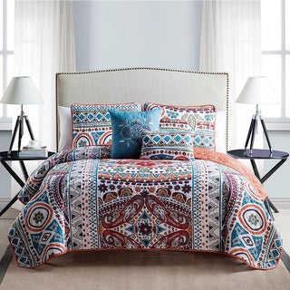 VCNY Natasha 5-Piece Reversible Quilt Set with 2 Decorative Pillows