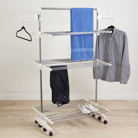 Heavy Duty Stainless Steel 3-tier Laundry Rack with Tall Bar by Everyday Home - 27 x 58.5 x 60
