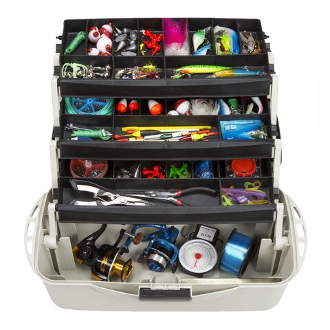 3-Tray Fishing Tackle Box Craft Tool Chest and Art Supply Organizer  18 Inch by Wakeman Outdoors