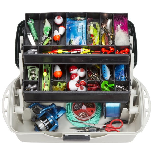 2-Tray Fishing Tackle Box Craft Tool Chest and Art Supply Organizer – 14 Inch by Wakeman Outdoors