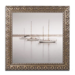 Moises Levy 'Three Boats' Gold Ornate Framed, Canvas Wall Art