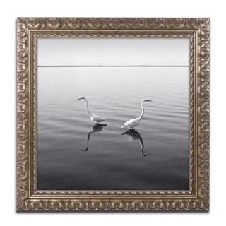 Moises Levy '2 Herons' Gold Ornate Framed, Canvas Wall Art