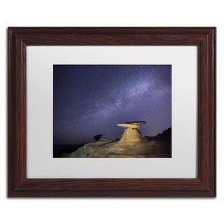 Moises Levy 'Starry Night in Arizona III' White Matte, Wood Framed Canvas Wall Art