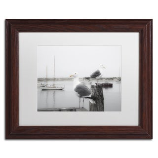Moises Levy 'Two Seagulls & Boats' White Matte, Wood Framed Canvas Wall Art