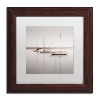 Moises Levy 'Three Boats' White Matte, Wood Framed Canvas Wall Art