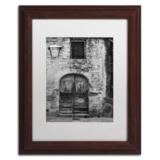 Moises Levy 'San Gimignano Door' White Matte, Wood Framed Canvas Wall Art
