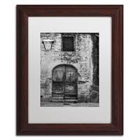Moises Levy 'San Gimignano Door' White Matte, Wood Framed Canvas Wall Art