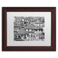 Moises Levy 'San Gimignano Texture' White Matte, Wood Framed Canvas Wall Art