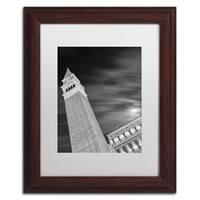 Moises Levy 'San Marco Sky' White Matte, Wood Framed Canvas Wall Art